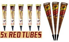 5 Golecha Red Heena Tubes + 3 Golden Glitter Cones Natural Temporary Tattoo