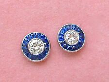 ART DECO STYLE .55ctw DIAMOND SAPPHIRE HALO PLATINUM EVERYDAY STUD EARRINGS