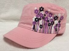 Pugs Gear Pink Military Cadet Cap Hat with Purple Black White Flowers NWT