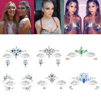 Temporary Tattoo Face Gems Jewels Rhinestone Festival Body Glitter Stickers