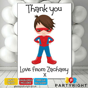 Personalised Superhero Kids Spiderman Thank you cards