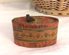 Tiny Swedish Tine Box Snuff Antique Stockholm Hand Painted Birch Bark