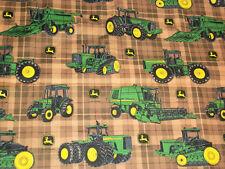 John Deere  Brown Plaid Different Tractors Fabric    18 X 42     Z2