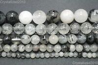 Natural Tourmalinated Quartz Gemstone Round Beads 4mm 6mm 8mm 10mm 12mm 16mm 15""
