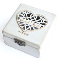 Personalized White Ring Holder Vintage White Wedding Ring Box Ring Bearer Box