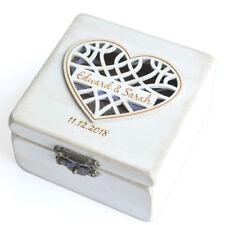 Vintage White Wedding Ring Box Ring Bearer Box, Personalized White Ring Holder