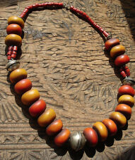 Moroccan large tarnished orangey amber resin and  bead necklace