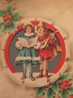 VTG! 1940s Christmas Card Victorian Children Carolers Holly