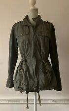 Atmosphere Green Light Weight Parka Coat Jacket Faux Leather Sleeves UK 12
