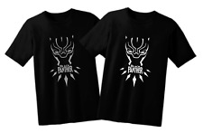 Black Panther T'Challa Fan T shirt (Black/Silver, Black/white) Unisex