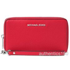 NEW MICHAEL KORS MERCER LARGE FLAT MULTIFUNCTION PHONE CASE WALLET BRIGHT RED