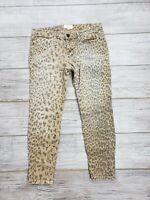 EUC Current Elliott Women's Camel Leopard Stiletto Skinny Ankle Pants Size 30-0