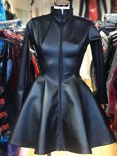 Misfitz  black leather look skater mistress dress MADE TO MEASURE TV Goth CD