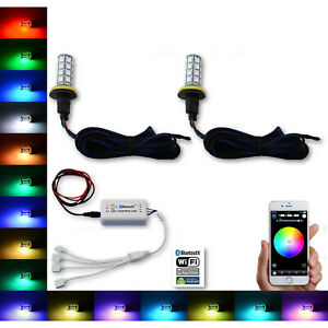 H11 27 SMD RGB Multi-Color Changing Shift Led Fog Light Bulb Bluetooth Pair