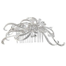 Bella Krystal Rhodium Plated Swarovski Crystal Hair Comb 15cm bridal wedding