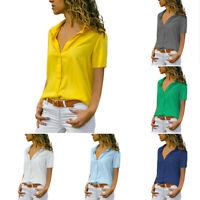 Frauen Casual Tops Bluse Solide Kurzarm Damen Shirt Chiffon T-Shirt