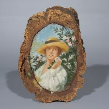 Vintage French Naive Folk Art Oil Painting, Wood Plaque with Bark, Woman, Signed