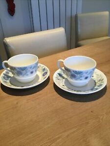 2 x WEDGWOOD CLEMENTINE BONE CHINA TEACUPS & SAUCERS (2 More Sets AlsoAvailable)