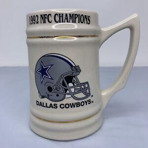 1992 Dallas Cowboys NFC Champions Ceramic Mug Stein Super Bowl XXVII Vintage