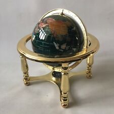 Semi Precious Inlaid Gemstone Verdi Green World Globe Gold Stand Compass NEW