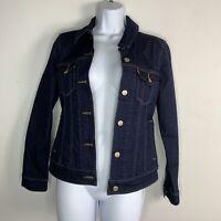 Levi Strauss Womens Denim Jacket Sz S Dark Blue Wash Button Front Casual Q43