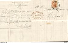 J) 1879 MEXICO, 10 CENTS ORANGE, HIDALGO, OVAL CANCELLATION, FROM YRAPUATO TO GU