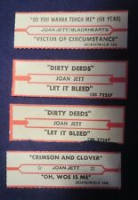 Lot of 4 Jukebox Tags 45 Rpm Title Strips Joan Jett / & The Blackhearts