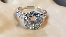 And Cz Beautiful Ring #Ae Sterling Silver Blue Color 3.83ct Moissanite