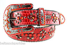 BB Simon Red Croco Leather Belt 34 L New
