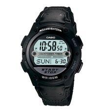 Casio W756B-1A Men's Black Nylon Band Alarm Chronograph Interval Timer Watch