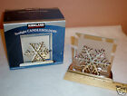 Silver Metal Snowflake on Frosted Glass-Tea Light Candle Holder/Votive with Box