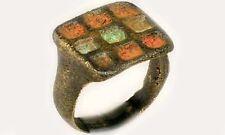 RARE Ancient Celt Roman Britannia MultiColor Cloisonné Champlevé Enamel Ring Sz8