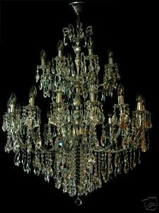 LARGEST CHANDELIER ON EBAY 24 LIGHTS 3 FLOORS & FINE CRYSTALS + Antique Silver