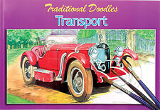 TRANSPORT CARS & VEHICLES & LANDSCAPES COLOURING OR PAINTING DOODLE BOOK 3070