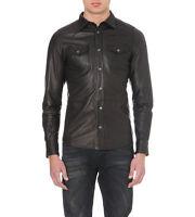 Men's Gents Black Adjustable Collar Casual Shirt Soft Leather Shirt Jacket LS16