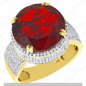 Red Ruby & Diamond Men's Engagement Pinky Ring Band 2.5CT 14K Yellow Gold Finish