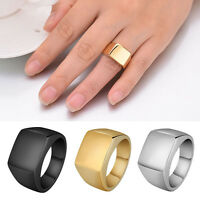 Men's Ring Stainless Steel Solid Polished Finger Ring Punk Band Wide Ring Gift