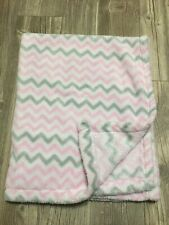 Euc Baby Gear Baby Girl Security Blanket Chevron Pink White Grey Plush Soft D7