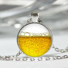 Beer Tibet silver Dome Glass Cabochon Necklace chain Pendant