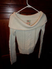 Hollister's Snow Bunny Ivory Sweater w/Shoulder Baring Collar Hardly Worn Med