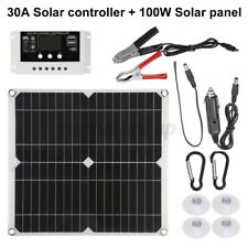100W Solar Panel Kit for 12V Battery Power Charge & 10/20/30A Controller Home RV