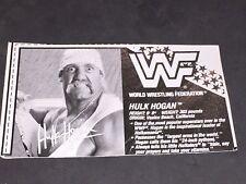 Wwf Wwe Hasbro Hulk Hogan #2 Bio Card cut out for Wrestling Figure
