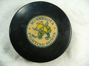 WHA Minnesota Fighting Saints Art Ross Converse Game Hockey Puck Collect Pucks