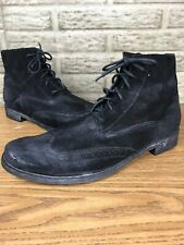 Bed Stu Distressed Black Suede Wingtip Ankle Boots Sz 13