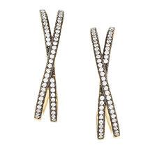 JOEY J-Gold Over Silver-Black Rhodium Criss Cross Cubic Zirconia Hoop Earrings