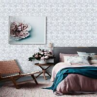 Wallpaper Flower White Gray Self Adhesive Peel and Stick Wall Decals Decor Rolls