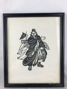 Vintage Black Paper Cut Japanese Man Art