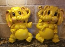 "1973 Homco Yellow Elephant Wall Hanging #285 Baby Kids Decor 12.5"" x 9"""