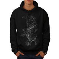 Wellcoda Four Scary Raven Mens Hoodie, Crow Birds Casual Hooded Sweatshirt