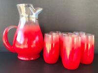MCM Vintage Blendo Red Frosted Juice Pitcher 6 Glasses Mid Century Modern